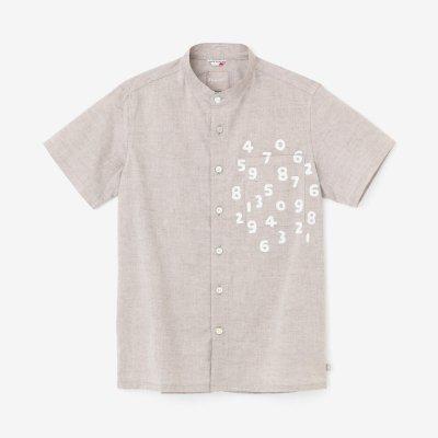 綿麻シャンブレー織 スタンドカラー 半袖シャツ/絹鼠(きぬねず)×SO-SU-U昆(こん)