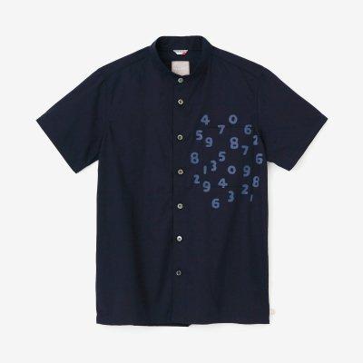 綿麻シャンブレー織 スタンドカラー 半袖シャツ/濃紺(のうこん)×SO-SU-U昆(こん)