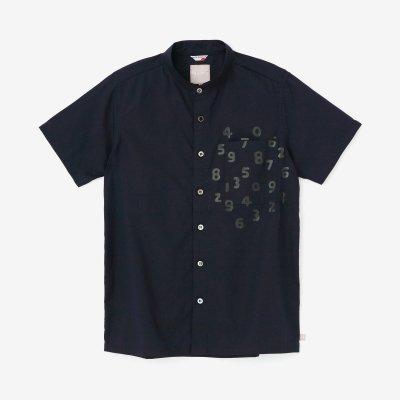 綿麻シャンブレー織 スタンドカラー 半袖シャツ/深紺(しんこん)×SO-SU-U昆(こん)