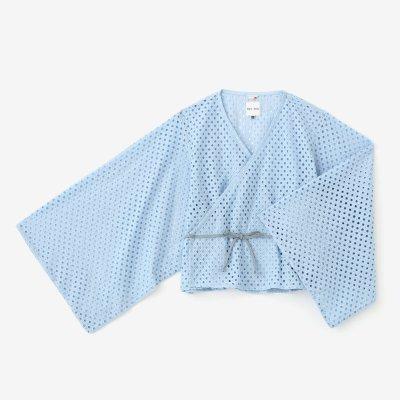 透かし行儀刺繍(ぎょうぎししゅう) 小袖寛衣(こそでかんい)/空色(そらいろ)