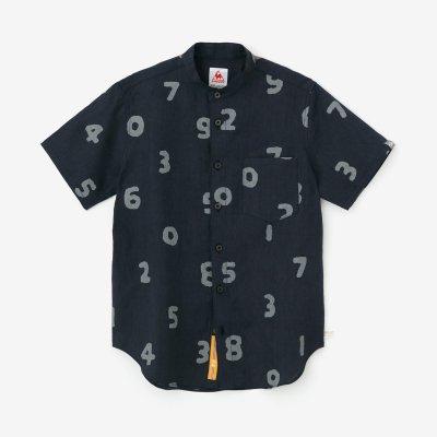 リネン スタンドカラー 半袖シャツ/SO-SU-U 深紺(しんこん)