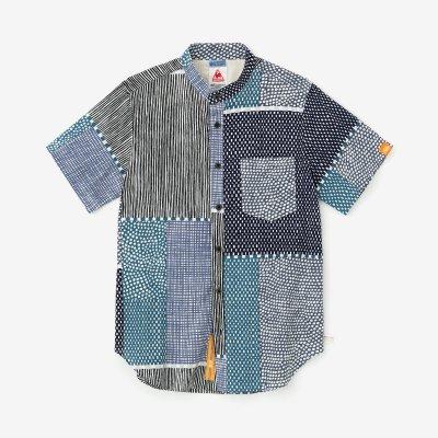 高島縮20/20 スタンドカラー半袖シャツ/間がさね(まがさね)