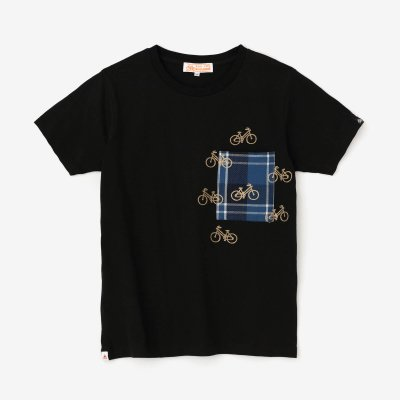 半袖 ポケットTシャツ/濡羽色(ぬればいろ)×チャリンチャリン