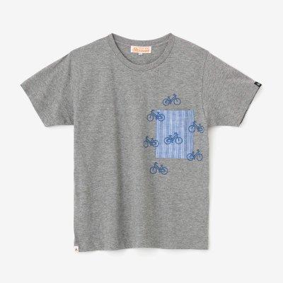 半袖 ポケットTシャツ/杢灰(もくはい)×チャリンチャリン