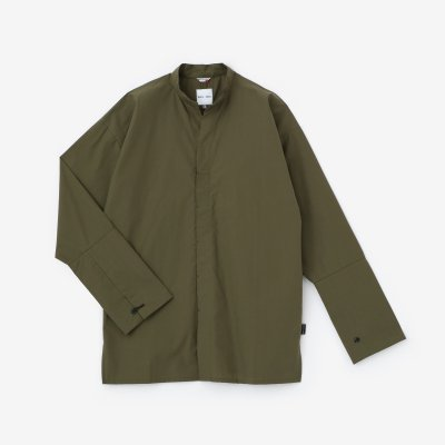 タイプライタークロス 立衿(たちえり) 筒袖襯衣(つつそでしんい)/海松色(みるいろ)