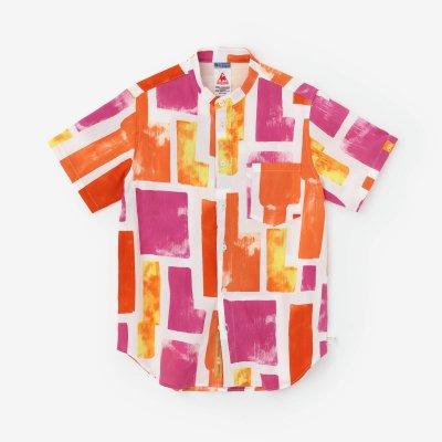 高島縮 20/20 スタンドカラー半袖シャツ/花園(はなぞの)