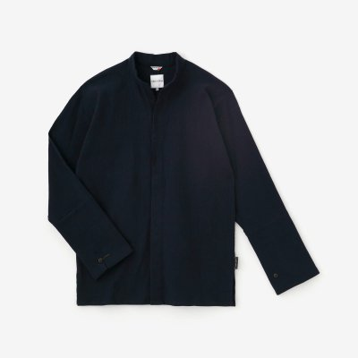 高島縮 20/20 立衿(たちえり) 筒袖襯衣(つつそでしんい)/留紺(とめこん)