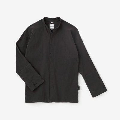 高島縮 20/20 立衿(たちえり) 筒袖襯衣(つつそでしんい)/濃灰(こいはい)
