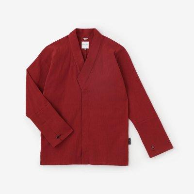 高島縮 20/20 筒袖襯衣(つつそでしんい)/臙脂色(えんじいろ)