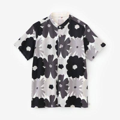 高島縮 20/20 スタンドカラー半袖シャツ/おおらかとりどり