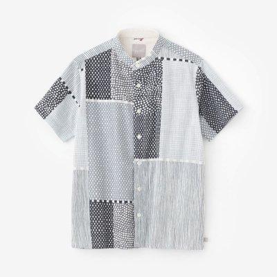 高島縮 20/20 スタンドカラー半袖シャツ/間がさね(まがさね)