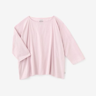 高島縮 40/40 7分袖 ボートネックシャツ/灰桜(はいざくら)