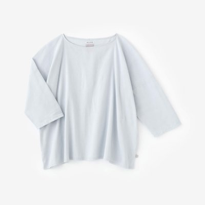 【net限定】高島縮 40/40 7分袖 ボートネックシャツ/月白(げっぱく)