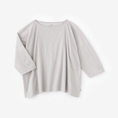 高島縮 40/40 7分袖 ボートネックシャツ/銀灰色(ぎんかいしょく)