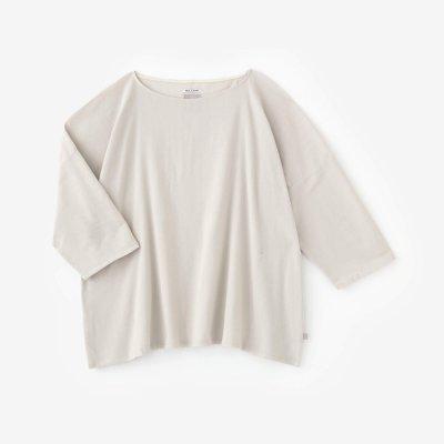 【net限定】高島縮 40/40 7分袖 ボートネックシャツ/淡練色(うすねりいろ)