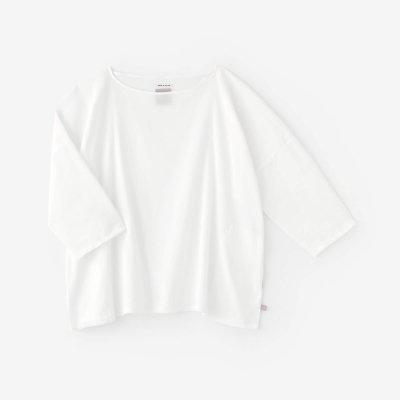 高島縮 40/40 7分袖 ボートネックシャツ/つくも