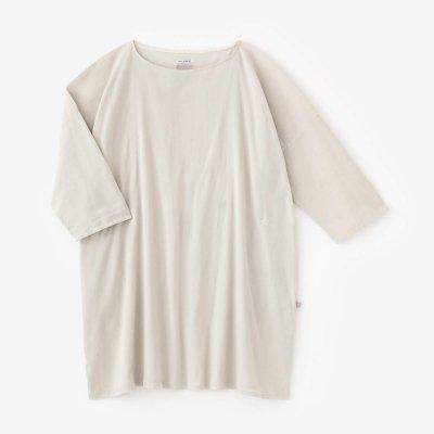 【net限定】高島縮 40/40 7分袖 ボートネックチュニック/淡練色(うすねりいろ)