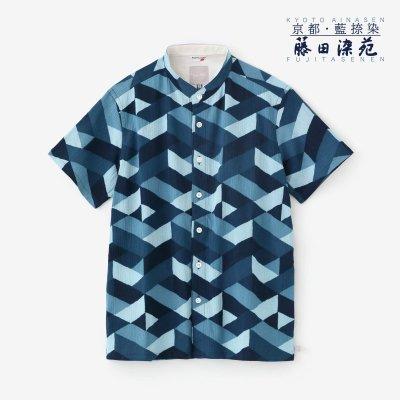 高島縮 20/20 藍捺染(あいなせん) スタンドカラー半袖シャツ/たがいちがい