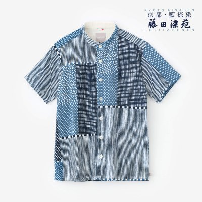 高島縮 20/20 藍捺染(あいなせん) スタンドカラー半袖シャツ/間がさね(まがさね)
