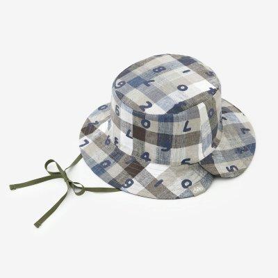 リネン リバーシブル BIKE HAT/SO-SU-U上下(しょうか) ネイビーチェック
