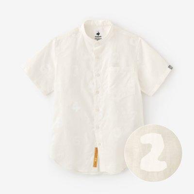 リネンテンセル スタンドカラー半袖シャツ/SO-SU-U 乳白(にゅうはく)