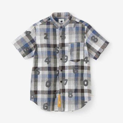 リネン スタンドカラー 半袖シャツ/SO-SU-U ネイビーチェック