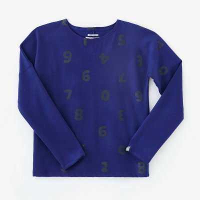 ウール混 ポンチローマ 型ぬき長袖Tシャツ/SO-SU-U上下(しょうか)と余白(よはく) 瑠璃色(るりいろ)