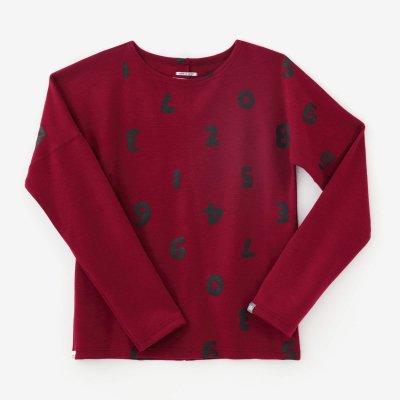 ウール混 ポンチローマ 型ぬき長袖Tシャツ/SO-SU-U上下(しょうか)と余白(よはく) 濃紅(こいくれない)