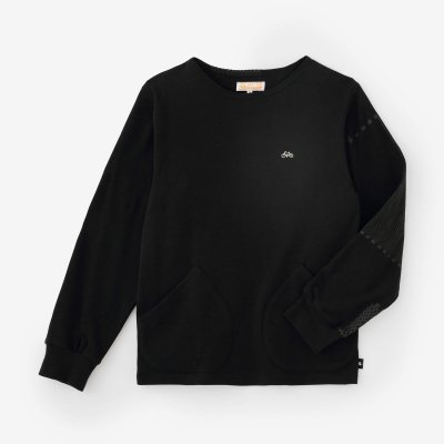 【net限定】ジャージー編 ボートネックシャツ/ブラック×間ぬき(まぬき)