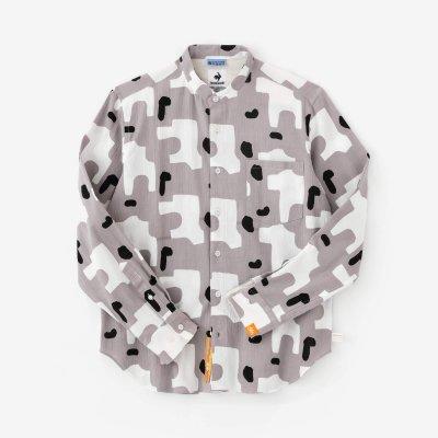 高島縮 20/20 スタンドカラーシャツ/こっけい