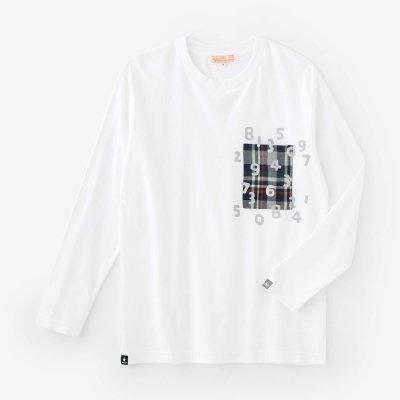長袖 ポケットTシャツ[5.6]/ホワイト×SO-SU-U昆(こん)