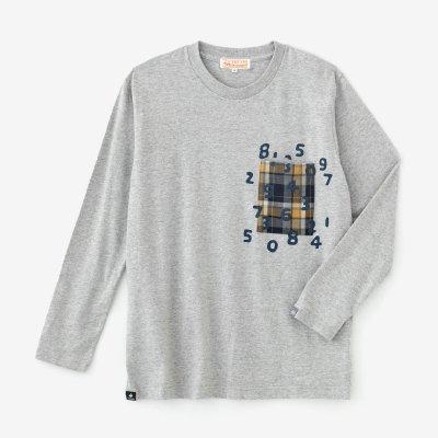 長袖 ポケットTシャツ[5.6]/ヘザーグレー×SO-SU-U昆(こん)