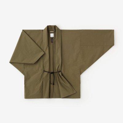高密度(こうみつど) 斜子織(ななこおり) もじり袖 短衣 単/海松色(みるいろ)