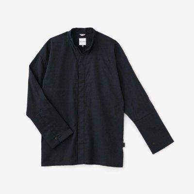 ジャカール 立衿(たちえり) 筒袖襯衣(つつそでしんい)/深紺(しんこん)