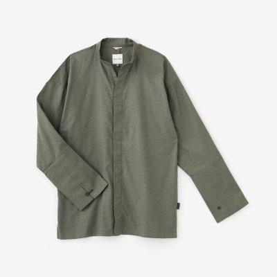 ジャカール 立衿(たちえり) 筒袖襯衣(つつそでしんい)/鉛色(なまりいろ)