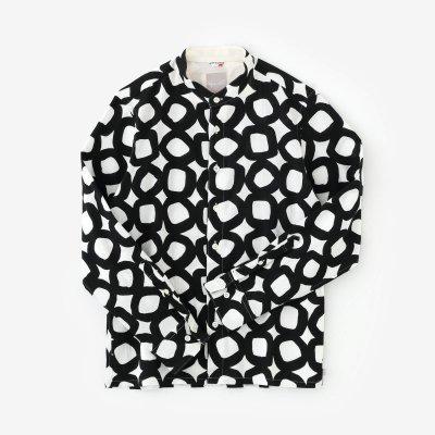 高島縮 20/20 スタンドカラーシャツ/とえはたえ 濡羽色(ぬればいろ)