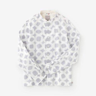 高島縮 20/20 スタンドカラーシャツ/とえはたえ 小町鼠(こまちねず)