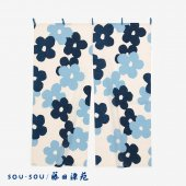 SOU・SOU×藤田染苑 藍捺染 手ぬぐいのれん 2巾/花がさね