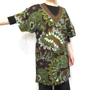 エスニックファッション・アジアンファッション  抽象柄V字襟ワンピース/エスニックファッション・アジアンファッション・アウトレット・セール