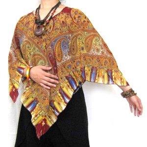 エスニックファッション・アジアンファッション  シフォンポンチョ