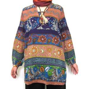 エスニックファッション・アジアンファッション  エスニックボーダーブラウス/エスニックファッション・アジアンファッション・アウトレット・セール