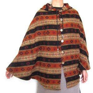 エスニックファッション・アジアンファッション 民族調フード付ポンチョ