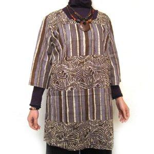 エスニックファッション・アジアンファッション  ストライプ七分ワンピース