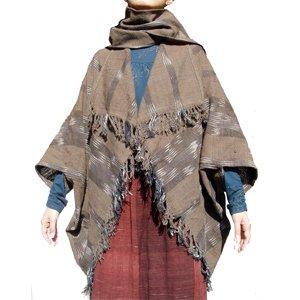 エスニックファッション・アジアンファッション コットン前開きポンチョ