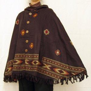 エスニックファッション・アジアンファッション 織り柄入りフード付ポンチョ