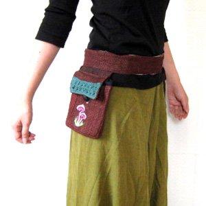 エスニックファッション・アジアンファッション キノコ柄ヘンプウエストバッグ
