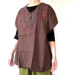 エスニックファッション・アジアンファッション  ヒッピー風刺繍ポンチョ
