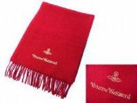 ヴィヴィアンウエストウッド ウールマフラー レッド 限定ゴールド刺繍 ビビアン Vivienne Westwood