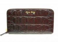 MIUMIU ミュウミュウ ラウンド長財布 5M0506 ダークブラウン クロコ型押し