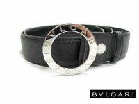 ブルガリ 20230 シルバーバックルレザーベルト ブラック BVLGARI